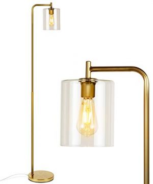 Brightech Elizabeth Industrial Floor Lamp With Glass Shade Edison Bulb Indoor Pole Light To Match Living Room Or Bedroom In Farmhouse Vintage Or Rustic Style Standing Tall Lighting Gold 0 300x360