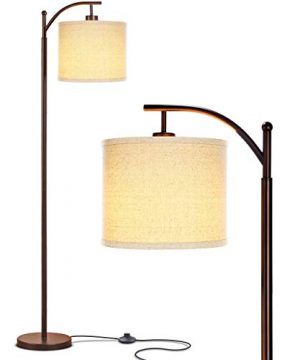 Brightech Montage Bedroom Living Room Floor Lamp Reading Standing Light With Arc Hanging Shade Indoor Tall Pole Lamp For Office Suits Mid Century Modern Farmhouse With LED Bulb Bronze 0 300x360