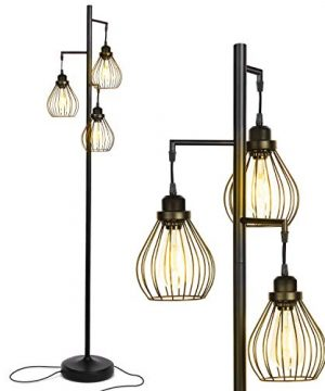 Brightech Teardrop Floor Lamp Matches Industrial Farmhouse Rustic Living Rooms Standing Tree Lamp With 3 Elegant Cage Heads Edison LED Bulbs Tall Vintage Pole Light Black 0 300x360
