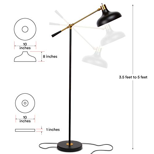 Brightech Wyatt Industrial Floor Lamp For Living Rooms Bedrooms Rustic Farmhouse Reading Lamp Standing Adjustable Arm Indoor Pole Lamp For Crafts Tasks 0 0