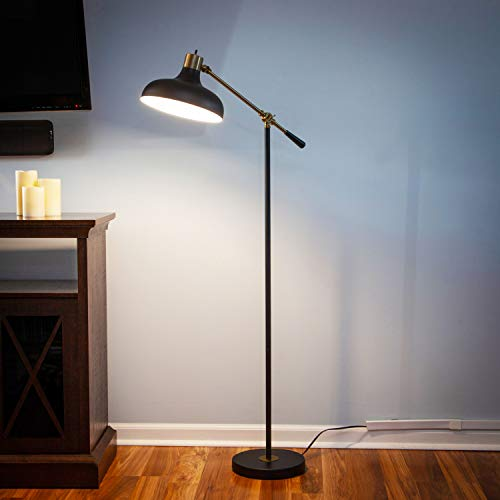 Brightech Wyatt Industrial Floor Lamp For Living Rooms Bedrooms Rustic Farmhouse Reading Lamp Standing Adjustable Arm Indoor Pole Lamp For Crafts Tasks 0 2