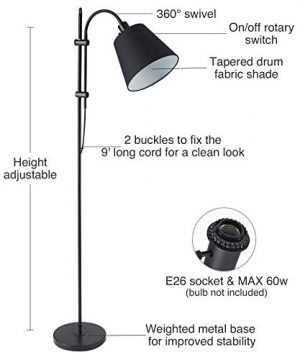 CO Z Floor Task Lamp With Gooseneck Adjustable Rustic Standing Reading Lamps With Black Fabric Shade 64 Modern Floor Lamp For Living Room Bedroom Reading Office Farmhouse UL 0 0 300x360