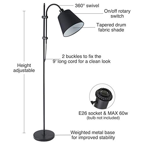 CO Z Floor Task Lamp With Gooseneck Adjustable Rustic Standing Reading Lamps With Black Fabric Shade 64 Modern Floor Lamp For Living Room Bedroom Reading Office Farmhouse UL 0 0