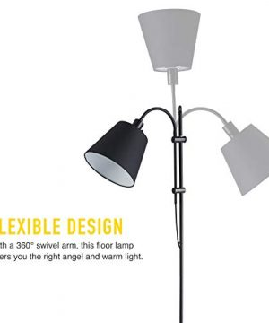 CO Z Floor Task Lamp With Gooseneck Adjustable Rustic Standing Reading Lamps With Black Fabric Shade 64 Modern Floor Lamp For Living Room Bedroom Reading Office Farmhouse UL 0 1 300x360