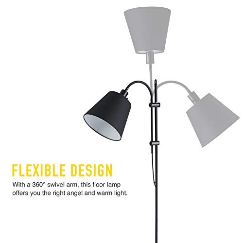 CO Z Floor Task Lamp With Gooseneck Adjustable Rustic Standing Reading Lamps With Black Fabric Shade 64 Modern Floor Lamp For Living Room Bedroom Reading Office Farmhouse UL 0 1
