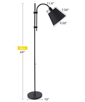 CO Z Floor Task Lamp With Gooseneck Adjustable Rustic Standing Reading Lamps With Black Fabric Shade 64 Modern Floor Lamp For Living Room Bedroom Reading Office Farmhouse UL 0 3 300x360