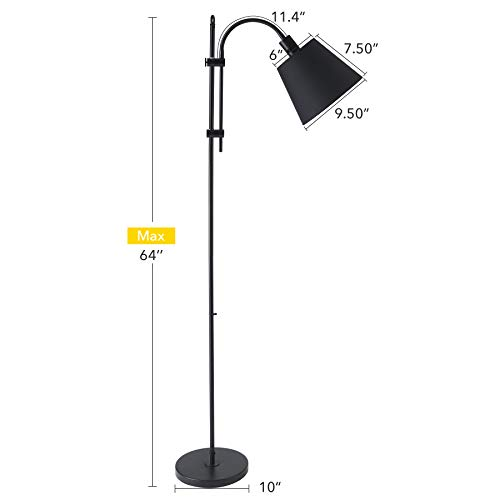 CO Z Floor Task Lamp With Gooseneck Adjustable Rustic Standing Reading Lamps With Black Fabric Shade 64 Modern Floor Lamp For Living Room Bedroom Reading Office Farmhouse UL 0 3