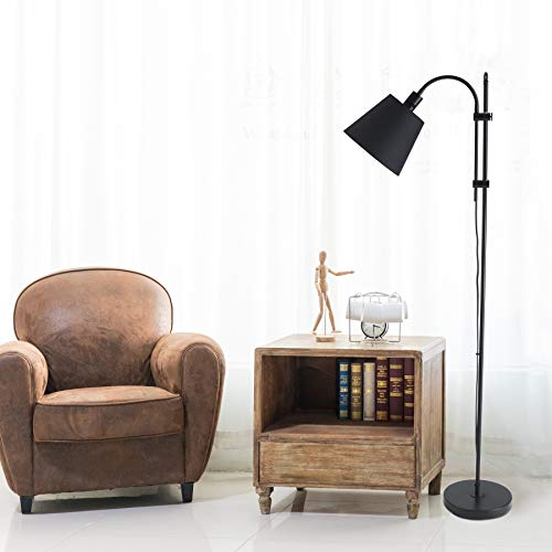 CO Z Floor Task Lamp With Gooseneck Adjustable Rustic Standing Reading Lamps With Black Fabric Shade 64 Modern Floor Lamp For Living Room Bedroom Reading Office Farmhouse UL 0 4