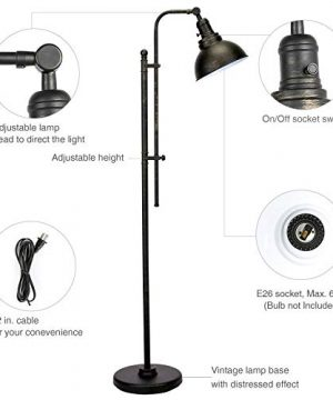 CO Z Industrial Floor Lamp Adjustable 65 Inches Rustic Floor Task Lamp In Aged Bronze Finish Standing Lamp With Metal Shade For Living Room Reading Bedroom Office ETL 0 3 300x360