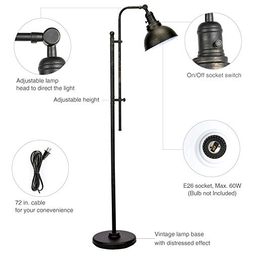 CO Z Industrial Floor Lamp Adjustable 65 Inches Rustic Floor Task Lamp In Aged Bronze Finish Standing Lamp With Metal Shade For Living Room Reading Bedroom Office ETL 0 3