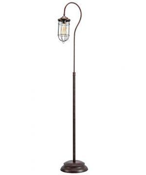 CO Z Industrial Floor Lamp With Adjustable Cage Shade 62 Inches Rustic Floor Lamp Brushed In Reddish Bronze Finish Lantern Floor Lamp For Living Room Bedroom Office ETL Certificate 0 300x360