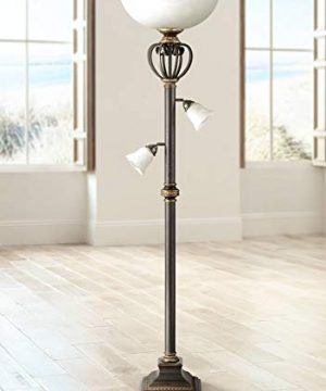 Calistoga Light Blaster Traditional European Torchiere Floor Lamp 3 Light Tree Oil Rubbed Bronze White Glass For Living Room Reading Bedroom Uplight Franklin Iron Works 0 300x360