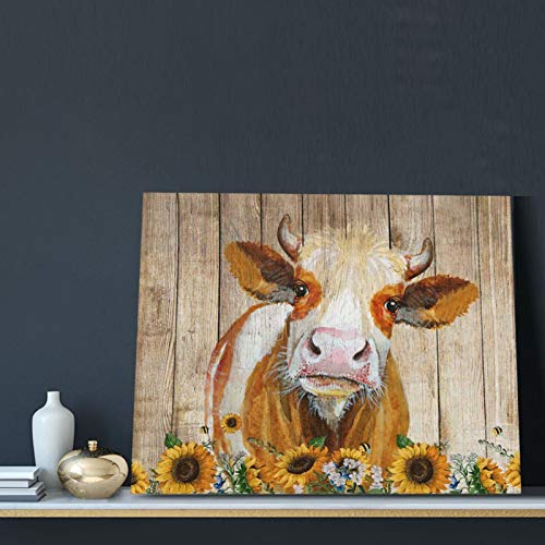 Cattle Cow And Sunflowers Wall Art Oil Painting On Canvas Home Decor Rustic Wooden Vintage Farm Animal Modern Pictures Painting For Living Room Ready To Hang16x20in 0 1