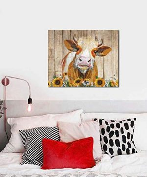 Cattle Cow And Sunflowers Wall Art Oil Painting On Canvas Home Decor Rustic Wooden Vintage Farm Animal Modern Pictures Painting For Living Room Ready To Hang16x20in 0 2 300x360