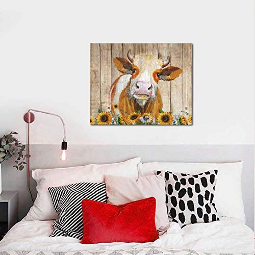 Cattle Cow And Sunflowers Wall Art Oil Painting On Canvas Home Decor Rustic Wooden Vintage Farm Animal Modern Pictures Painting For Living Room Ready To Hang16x20in 0 2