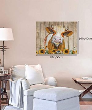 Cattle Cow And Sunflowers Wall Art Oil Painting On Canvas Home Decor Rustic Wooden Vintage Farm Animal Modern Pictures Painting For Living Room Ready To Hang16x20in 0 3 300x360