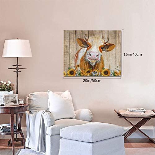 Cattle Cow And Sunflowers Wall Art Oil Painting On Canvas Home Decor Rustic Wooden Vintage Farm Animal Modern Pictures Painting For Living Room Ready To Hang16x20in 0 3