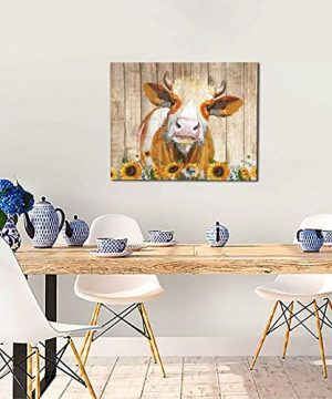 Cattle Cow And Sunflowers Wall Art Oil Painting On Canvas Home Decor Rustic Wooden Vintage Farm Animal Modern Pictures Painting For Living Room Ready To Hang16x20in 0 4 300x360