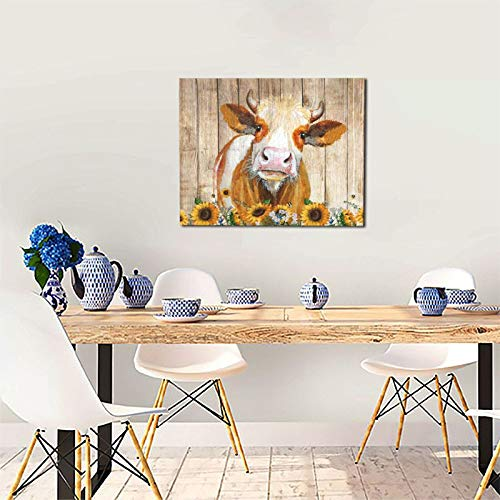 Cattle Cow And Sunflowers Wall Art Oil Painting On Canvas Home Decor Rustic Wooden Vintage Farm Animal Modern Pictures Painting For Living Room Ready To Hang16x20in 0 4