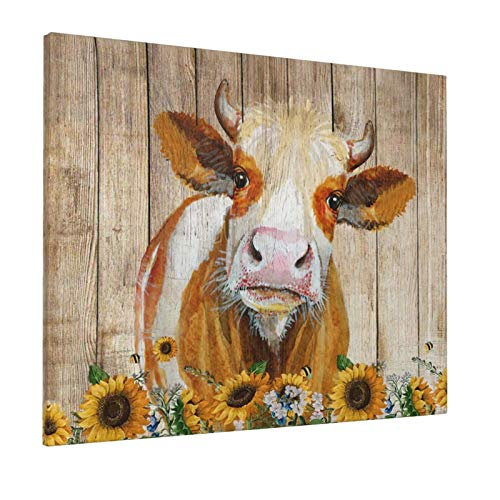 Cattle Cow And Sunflowers Wall Art Oil Painting On Canvas Home Decor Rustic Wooden Vintage Farm Animal Modern Pictures Painting For Living Room Ready To Hang16x20in 0
