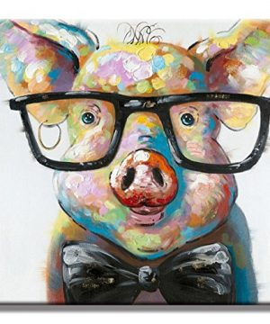 Crystal Emotion Lovely Pig With Glasses Paintings For Living Room Canvas Decor Wall Art Ready To Hang 16x16inch 0 300x360