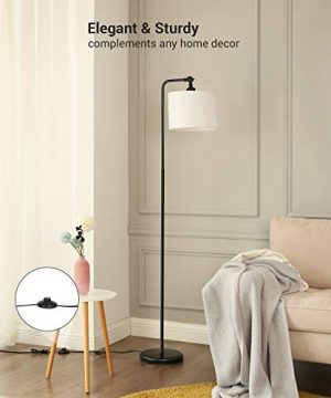 DEWENWILS 63 Inch Black Floor Lamp With White Shade Adjustable Lampshade Tall Pole Standing Farmhouse Floor Lamp For Living Room Bedroom Office Simple Style 0 0 300x360