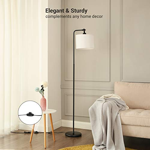 DEWENWILS 63 Inch Black Floor Lamp With White Shade Adjustable Lampshade Tall Pole Standing Farmhouse Floor Lamp For Living Room Bedroom Office Simple Style 0 0