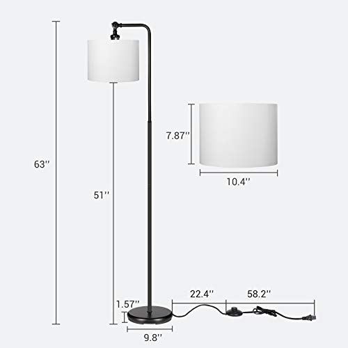DEWENWILS 63 Inch Black Floor Lamp With White Shade Adjustable Lampshade Tall Pole Standing Farmhouse Floor Lamp For Living Room Bedroom Office Simple Style 0 3