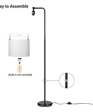 DEWENWILS 63 Inch Black Floor Lamp With White Shade Adjustable Lampshade Tall Pole Standing Farmhouse Floor Lamp For Living Room Bedroom Office Simple Style 0 5 300x360
