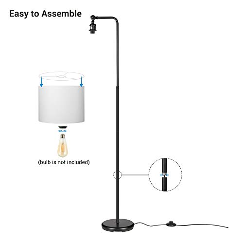 DEWENWILS 63 Inch Black Floor Lamp With White Shade Adjustable Lampshade Tall Pole Standing Farmhouse Floor Lamp For Living Room Bedroom Office Simple Style 0 5