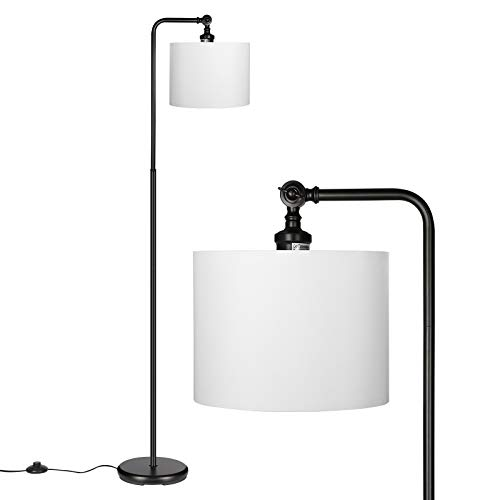 DEWENWILS 63 Inch Black Floor Lamp With White Shade Adjustable Lampshade Tall Pole Standing Farmhouse Floor Lamp For Living Room Bedroom Office Simple Style 0