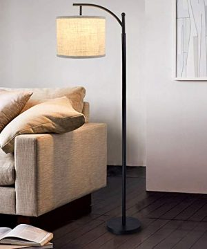 DLLT Led Floor LampModern Tall Floor Lamp Farmhouse Industrial Light 8W Classic Arc With Hanging Floor Lamp Drum ShadeReading Standing Lamp For Living RoomBedroomOfficeStudy RoomE26 Bulb Warm 0 300x360