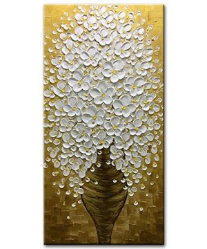 Desihum Abstract Paintings 3D Vertical Wall Art White Flowers Oil Painting On Canvas Hand Painted For Living Room 20x40 Inch 0 300x360