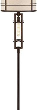 Elias Industrial Farmhouse Floor Lamp With Nightlight LED Oil Rubbed Bronze Off White Oatmeal Fabric Drum Shade For Living Room Reading Bedroom Office Franklin Iron Works 0 0 123x360