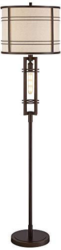 Elias Industrial Farmhouse Floor Lamp With Nightlight LED Oil Rubbed Bronze Off White Oatmeal Fabric Drum Shade For Living Room Reading Bedroom Office Franklin Iron Works 0 0