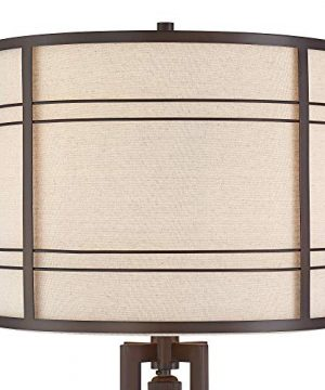 Elias Industrial Farmhouse Floor Lamp With Nightlight LED Oil Rubbed Bronze Off White Oatmeal Fabric Drum Shade For Living Room Reading Bedroom Office Franklin Iron Works 0 1 300x360