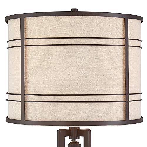 Elias Industrial Farmhouse Floor Lamp With Nightlight LED Oil Rubbed Bronze Off White Oatmeal Fabric Drum Shade For Living Room Reading Bedroom Office Franklin Iron Works 0 1