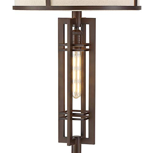 Elias Industrial Farmhouse Floor Lamp With Nightlight LED Oil Rubbed Bronze Off White Oatmeal Fabric Drum Shade For Living Room Reading Bedroom Office Franklin Iron Works 0 2