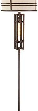 Elias Industrial Farmhouse Floor Lamp With Nightlight LED Oil Rubbed Bronze Off White Oatmeal Fabric Drum Shade For Living Room Reading Bedroom Office Franklin Iron Works 0 5 123x360