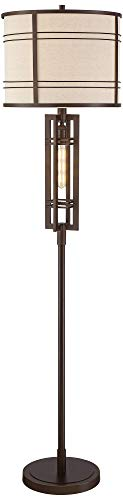 Elias Industrial Farmhouse Floor Lamp With Nightlight LED Oil Rubbed Bronze Off White Oatmeal Fabric Drum Shade For Living Room Reading Bedroom Office Franklin Iron Works 0 5