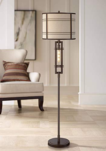 Elias Industrial Farmhouse Floor Lamp With Nightlight LED Oil Rubbed Bronze Off White Oatmeal Fabric Drum Shade For Living Room Reading Bedroom Office Franklin Iron Works 0