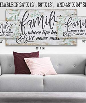 Family Where Life Begins Large Canvas Wall Art Stretched On A Heavy Wood Frame Ready To Hang Perfect For Above A Couch Makes A Great Housewarming Gift Under 50 0 1 300x360