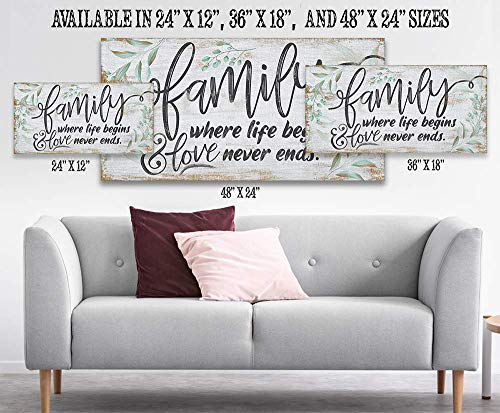 Family Where Life Begins Large Canvas Wall Art Stretched On A Heavy Wood Frame Ready To Hang Perfect For Above A Couch Makes A Great Housewarming Gift Under 50 0 1