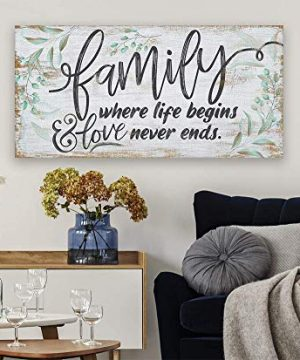 Family Where Life Begins Large Canvas Wall Art Stretched On A Heavy Wood Frame Ready To Hang Perfect For Above A Couch Makes A Great Housewarming Gift Under 50 0 2 300x360