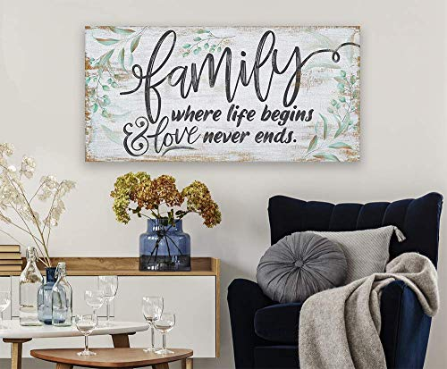 Family Where Life Begins Large Canvas Wall Art Stretched On A Heavy Wood Frame Ready To Hang Perfect For Above A Couch Makes A Great Housewarming Gift Under 50 0 2