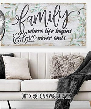 Family Where Life Begins Large Canvas Wall Art Stretched On A Heavy Wood Frame Ready To Hang Perfect For Above A Couch Makes A Great Housewarming Gift Under 50 0 3 300x360