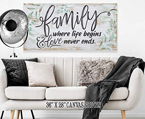 Family Where Life Begins Large Canvas Wall Art Stretched On A Heavy Wood Frame Ready To Hang Perfect For Above A Couch Makes A Great Housewarming Gift Under 50 0 3