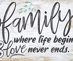 Family Where Life Begins Large Canvas Wall Art Stretched On A Heavy Wood Frame Ready To Hang Perfect For Above A Couch Makes A Great Housewarming Gift Under 50 0 300x250