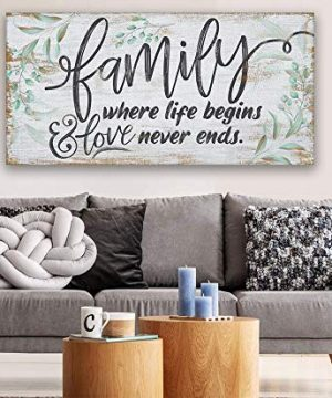 Family Where Life Begins Large Canvas Wall Art Stretched On A Heavy Wood Frame Ready To Hang Perfect For Above A Couch Makes A Great Housewarming Gift Under 50 0 5 300x360