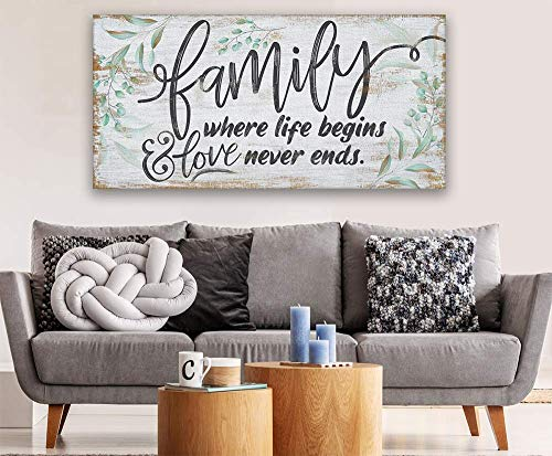Family Where Life Begins Large Canvas Wall Art Stretched On A Heavy Wood Frame Ready To Hang Perfect For Above A Couch Makes A Great Housewarming Gift Under 50 0 5